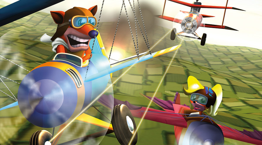 Crash and Coco fly their planes, the Orange Baron and the Flying Queen, respectively.