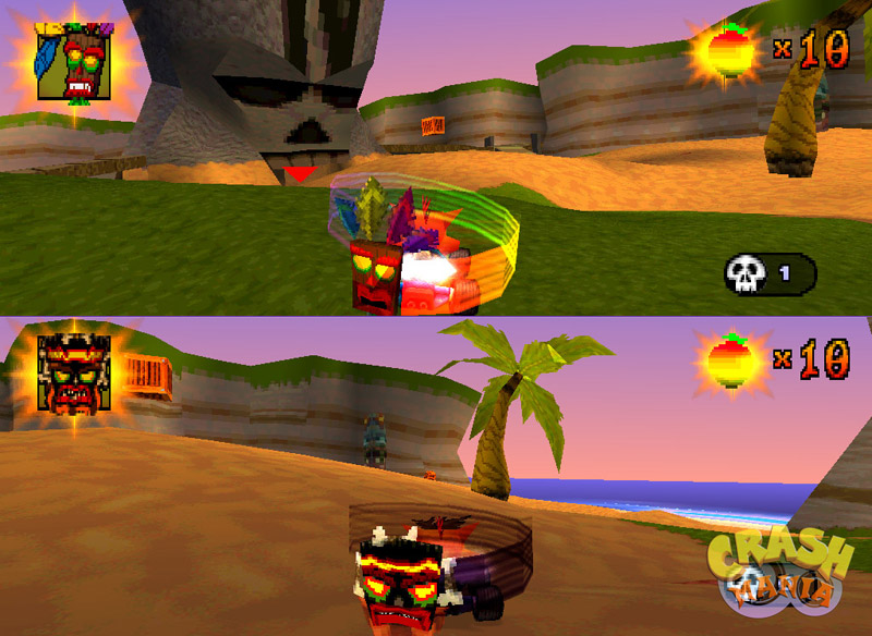 A typical battle in CTR. Crash and Fake Crash are both using invincibility masks.