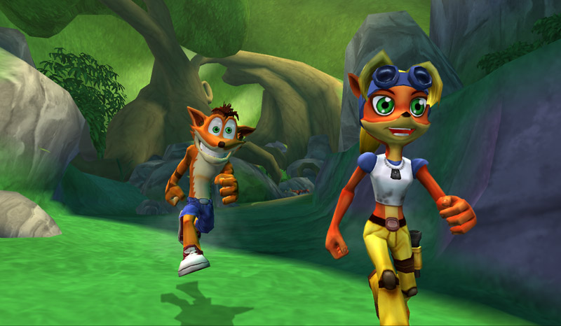 Crash and Coco run in the forest.