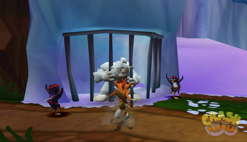 Crash, dressed as a caveman, runs towards a caged yeti. There are two ninja penguins standing beside Crash.