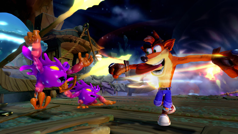 Crash Bandicoot fighting some enemies in Skylanders Imaginators.
