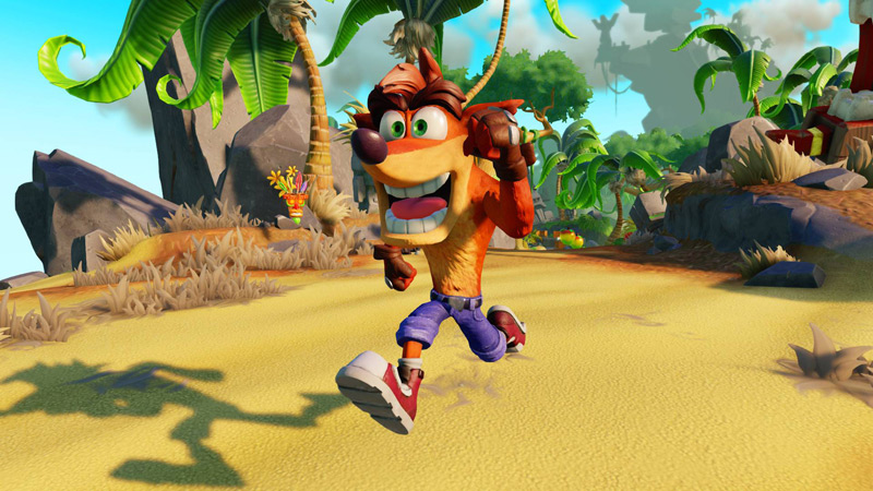 Crash running in what appears to be a variation of Wumpa Island in Skylanders Imaginators.