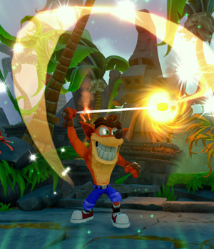 Crash using his yo-yo Sky-Chi in Skylanders Imaginators.