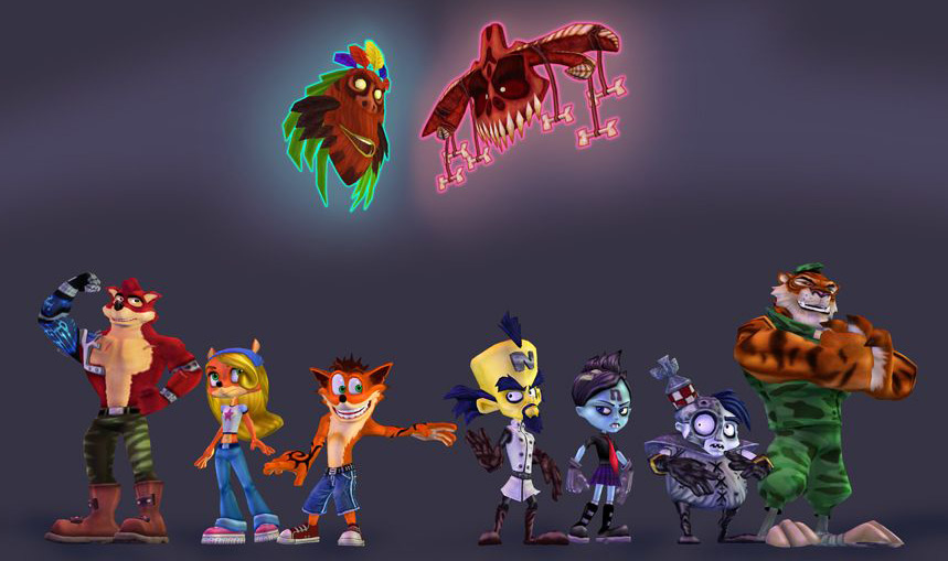 The main cast redesigned for Crash of the Titans.