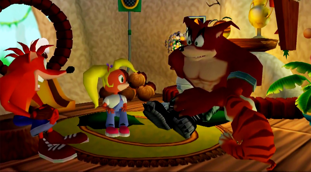 Crunch joins Crash, Coco, Aku Aku, and Pura inside their house.