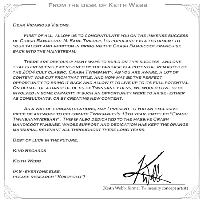 Twinsanity Remaster An Open Letter By Keith Webb Crash
