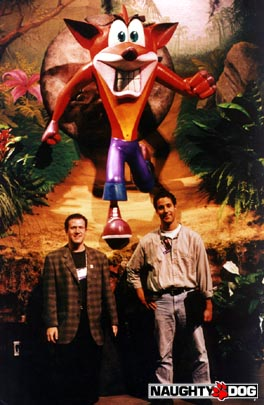 Andy Gavin and Jason Rubin at E3 1996.