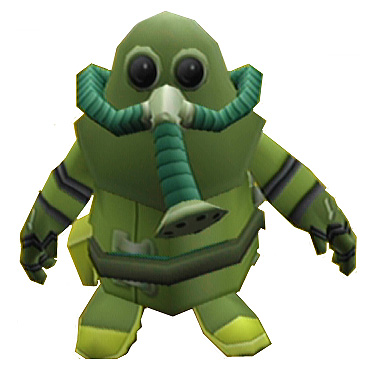 A person wearing a greenish outfit with a mask and an oxygen pump resembling an elephant trunk.