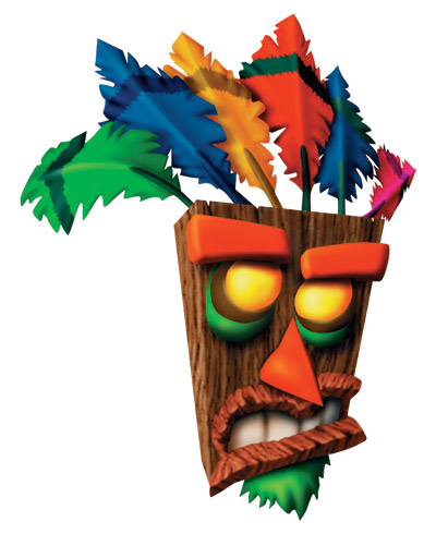Aku Aku, a mask possessed by a witch doctor's spirit, who looks like a slab of wood with facial features, four colored feathers on top, a green goatee, and bright, yellow eyes.