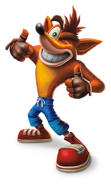 An orange bandicoot with a red mohawk wearing gloves, jeans, and sneakers.