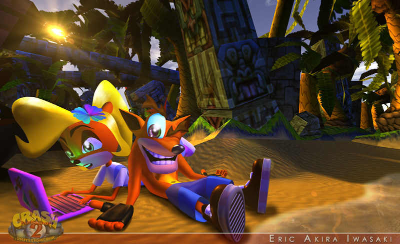 Crash and his sister, a blonde bandicoot with orange fur wearing overalls, relax on the beach.