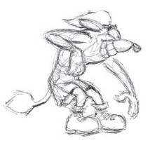 A sketch of Crash in his early days, when he was a wombat and had a tail during development.