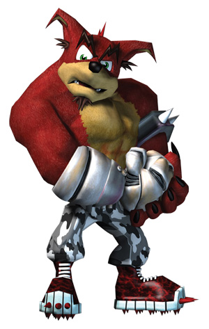 A burly, magenta bandicoot with floppy ears, a goatee, a metallic arm, and boots with spiky cleets.