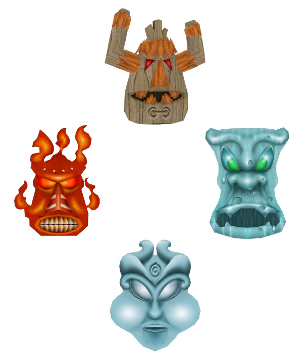 Four menacing-looking masks, each representing an element: Earth, Water, Wind, and Fire.