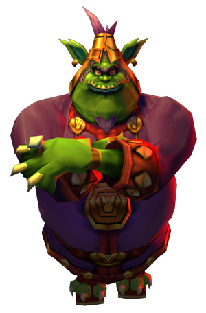 A large, green alien with pointy fangs and dressed in royal attire stands with his arms crossed and a menacing expression.