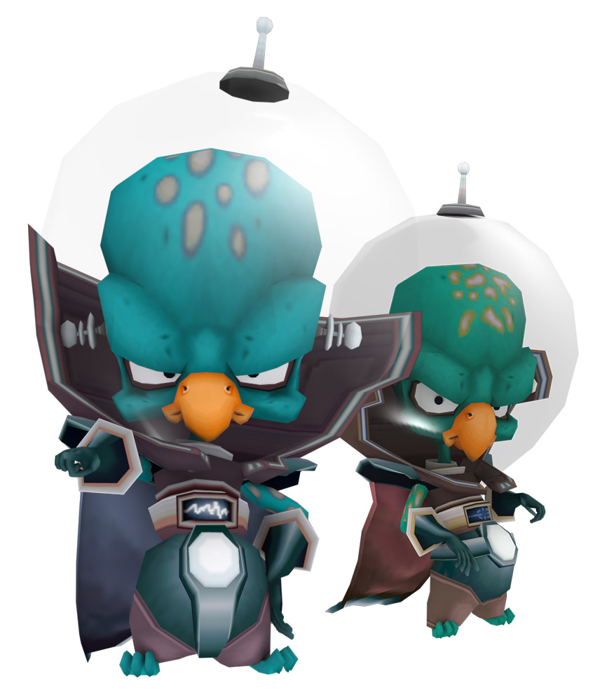 Two identical bird-like beings inside space suits look menacing at the viewer.
