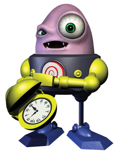 An egg-shaped, pink perso with a large, bulging left eye, wearing a robotic armor with metallic limbs and a clock-shaped right hand.