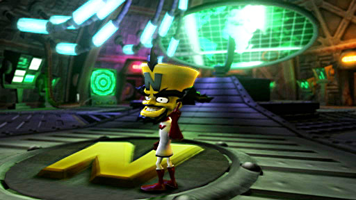 Cortex stands inside his Iceberg Lab, a place filled with many contraptions and computer screens.