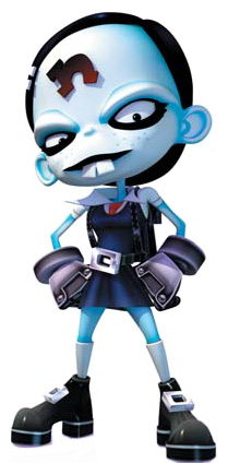 A little girl with light blue skin, buckteeth, robotic hands, and a lowercase n on her forehead, dressed in a dark school uniform.