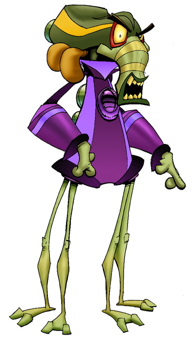 An angry, green alien dressed in a purple jacket. He has an elephant-like trunk with a mouth, and the top of his head is shaped like a newsboy cap with exaust pipes coming out of the back. He has 4 legs.