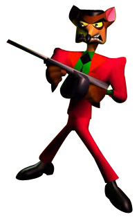 A human-like potoroo dressed in a fancy red suit and holding a tommy gun grimaces.