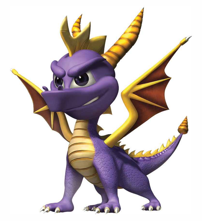 A small, smiling, purple dragon.