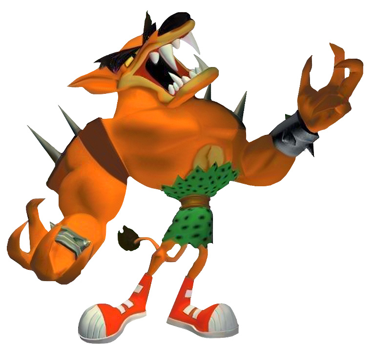 A hulking, humanoid Tasmanian Tiger with small legs, dressed in a green loin cloth and wearing red sneakers.