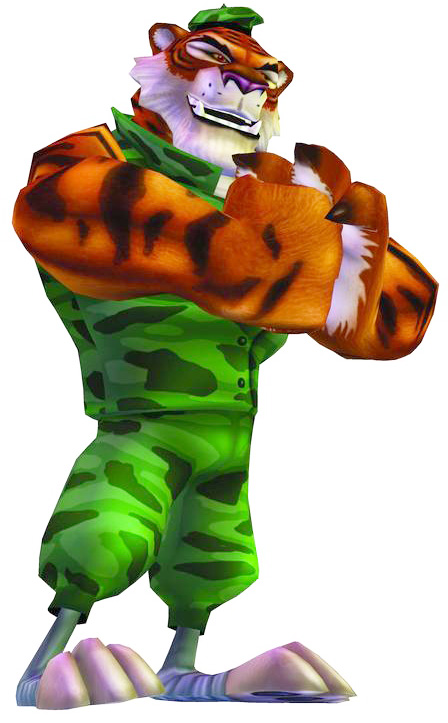 A human-like bengal tiger in a military uniform.
