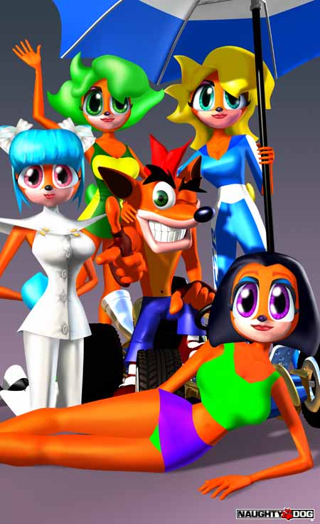 4 bandicoot females of different hair colors and attires pose for the camera, with Crash Bandicoot sitting in the middle.