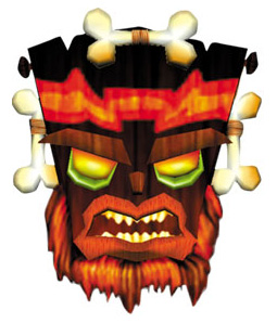 Uka Uka is Aku Aku's evil twin, represented by a black mask with bone ornaments.