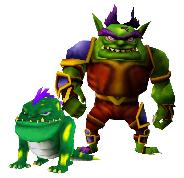 A green alien dog stands in front of a humanoid alien with a fierce look and a fanged grimace.