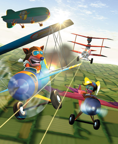 Crash and Coco pilot small bi-planes while outmaneuvering an enemy plane shooting at them. A blimp with Cortex's face painted on the side is seen in the background.