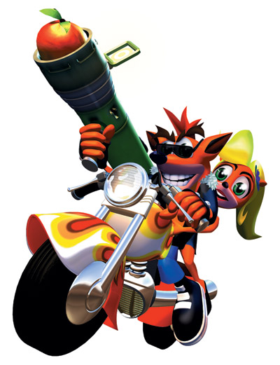 Crash rides the motorcycle with Coco sitting behind him. Crash is dressed as a biker and is wearing sunglasses while also wielding his fruit bazooka.