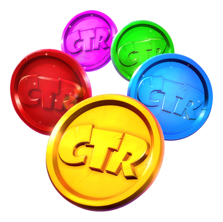 Five coin-shaped tokens with the acronym CTR engraved on them. Each token has a different color: red, purple, green, blue, and yellow.