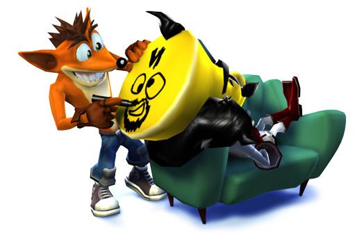 Crash Bandicoot draws Cortex's face on the latter's big, bald noggin.