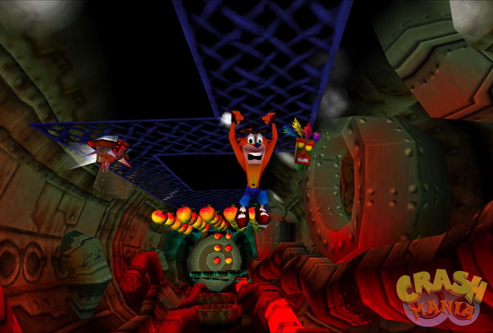 Crash hangs on to a mesh in the ceiling above some hot pipes inside a giant sewer. A surveillance robot patrols the area nearby.