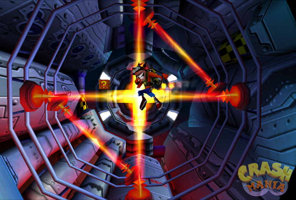 Crash flies inside a space station with the help of a jet-pack. A few laser beams in front of him block his way.