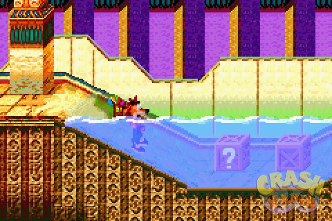 Crash has his body half-submerged in water inside an Egyptian tomb.