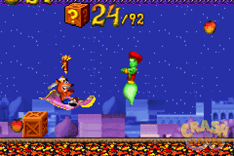Wearing a turban, Crash rides a magical flying carpet as a green genie floats in front of him. It's nighttime and they are out in an Arabian town.
