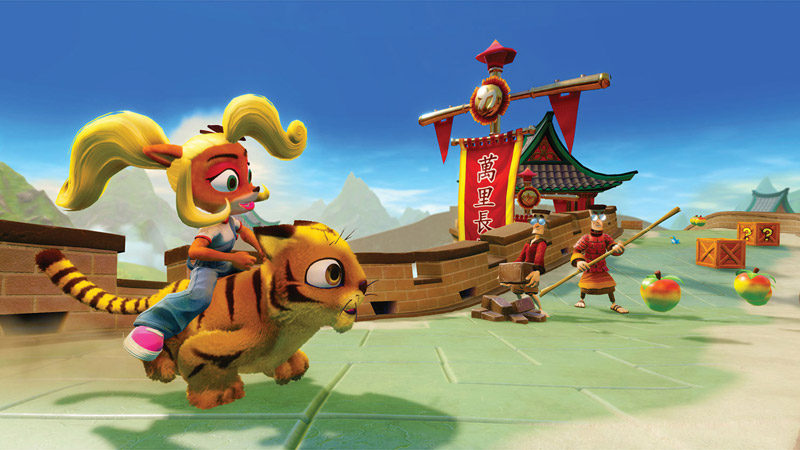 Coco rides Pura on the Great Wall of China while some Lab Assistants in Chinese garbs train in the distance.