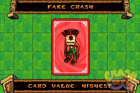 A red card depicting Fake Crash.