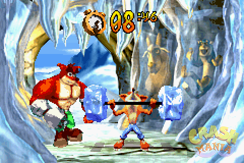 Crash tries to lift a barbell with large blocks of ice as weights, while Crunch watches over him. They're standing inside an icy cave, and a goat and a polar bear can be seen frozen nearby.