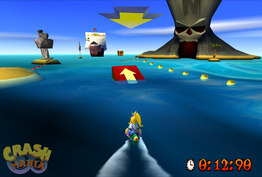 Crash's sister, a blond orange bandicoot named Coco, rides a jet-ski on open sea waters.