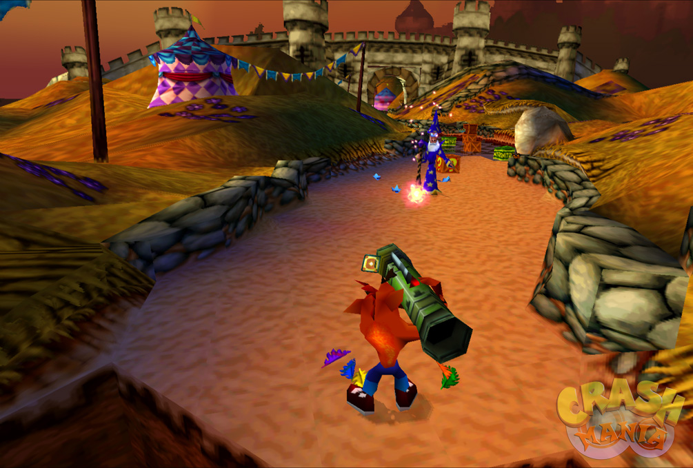 Crash aims a large bazooka in a medieval field near wizard clad in blue.