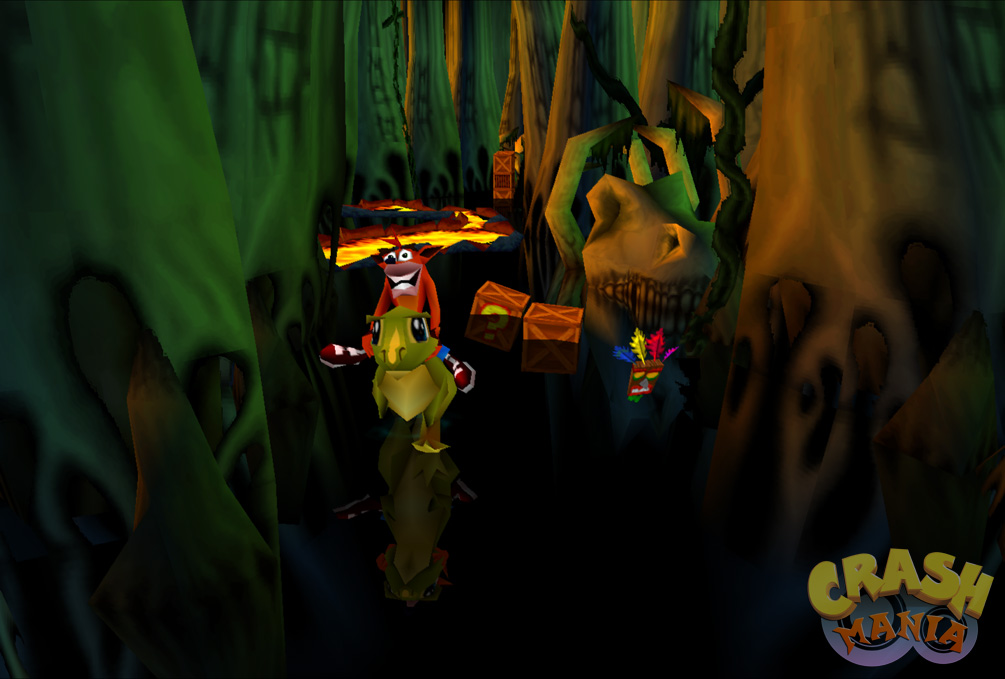 Crash rides a baby T-Rex in a pre-historic swamp filled with large dinosaur bones and small pools of lava..