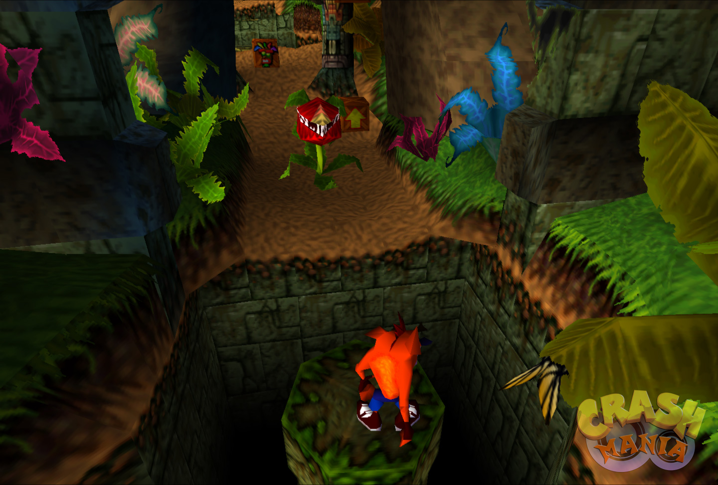 An orange bandicoot named Crash stands on top of a column in the middle of a jungle pit. A large, carnivorous plant sits in the distance.
