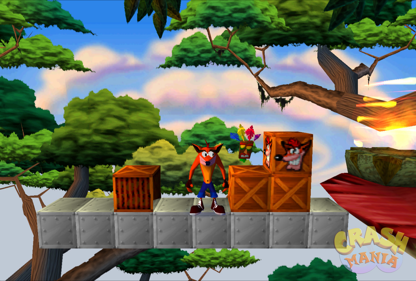 Crash stands next to some crates up in the tree tops.