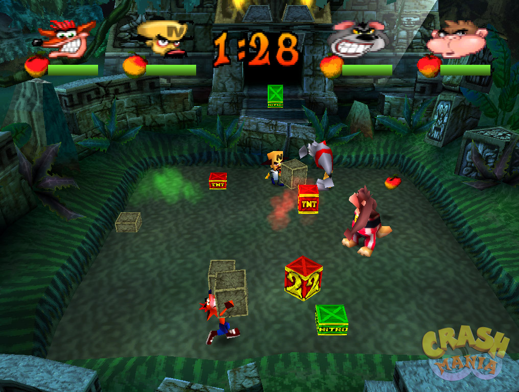 Crash, Cortex, Koala Kong, and Rilla Roo duke it out in a jungle by throwing crates at each other.