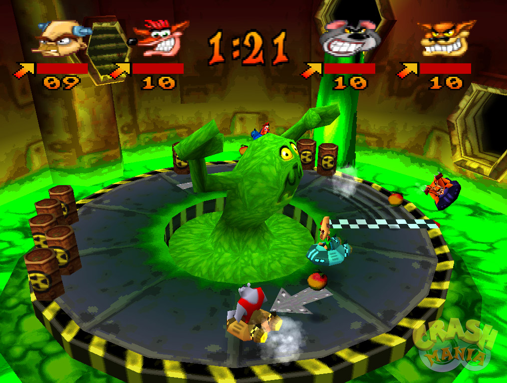 A circular race track with a big ooze monster appearing in the center serves as a mini-game.