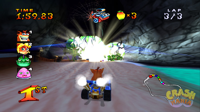 Crash Bandicoot drives his kart around a sunny beach. The sun can be seen in front of him.